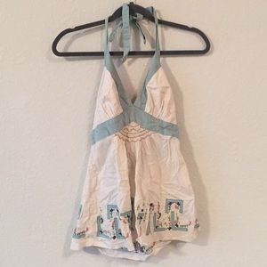 🛸Lithe Anthropologie Embroidered Halter Tank Top